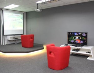 Super comfy Game Lounge for students to research and try out games at KDU College Penang