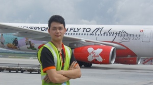 Johnathan Robert Cox, a Diploma in Aircraft Maintenance Engineering at Nilai University, at his OJT site, Air Asia X.