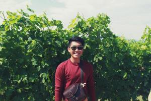 KDU University College culinary arts student, Daniel, during his Field trip to Chianti wine vineyard in Italy. Students can go for a 7-month internship to ALMA, Italy.