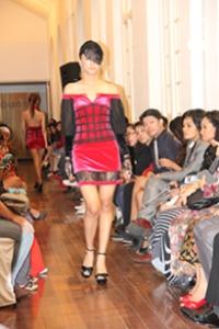 The model, showing off Bishrel Byambajav's winning collection at UCSI University's Fashion Showcase