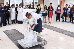 KDU University College School of Hospitality, Tourism and Culinary Arts lecturer and kitchen artist Chef Hamirudin Nazir shows off his ice-carving skills at the new lab.