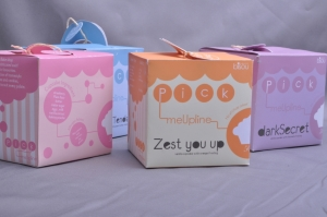 Saito College design student's work on packaging design