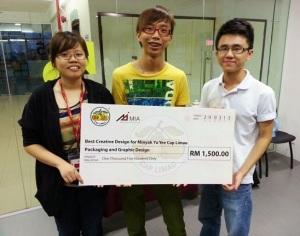 Malaysian Institute of Art (MIA) Graphic Design students, Wong Kar Ming, Tan Kee Giap and See G-Ling won the prize in the contest organized by FM Promos Sdn Bhd.