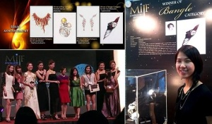 Malaysian Institute of Art (MIA) Illustration student, Tan Sim Yee, winner of Bangle Category, MIJF Jewellery Design Awards 2013.