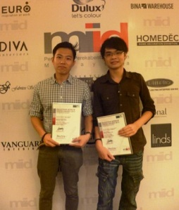 Malaysian Institute of Art (MIA) Interior Design student Nicholas Foo Kok Ming won the Silver award whilst Ng Kar Chian won the Honorary Mention Award
