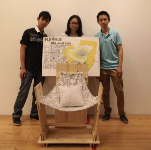 "UCSI University's award winning innovative chair design was themed ""Flexible Relaxation"" and utilised old planks and discarded fabrics to ensure it was eco-friendly."