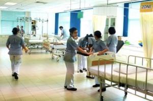 Nursing students having their practical in the lab at KDU College Penang