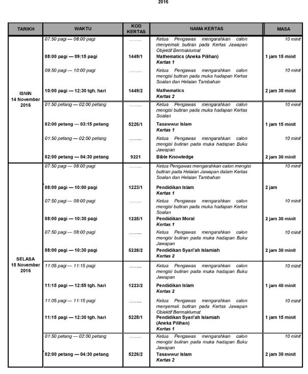 Jadual waktu Peperiksaan SPM 2016 2