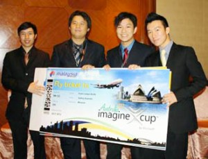Asia Pacific University's Microsoft Imagine Cup winning team, comprising Tan Jit Ren (left), Wong Mun Choong (second from left), Chan Wai Lun (third from left) and Ker Jia Chiun (right), will represent the nation in the world finals of the competition in Sydney, Australia