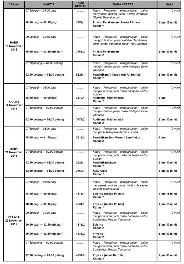 Jadual waktu Peperiksaan SPM 2016 3